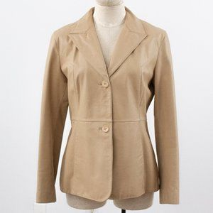 Vintage 90s Guess M/L Leather Blazer Jacket Tan